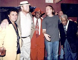 Johnny  Ferreira with friends John Baldry, Kenny Wayne, and Jeff Healey photo